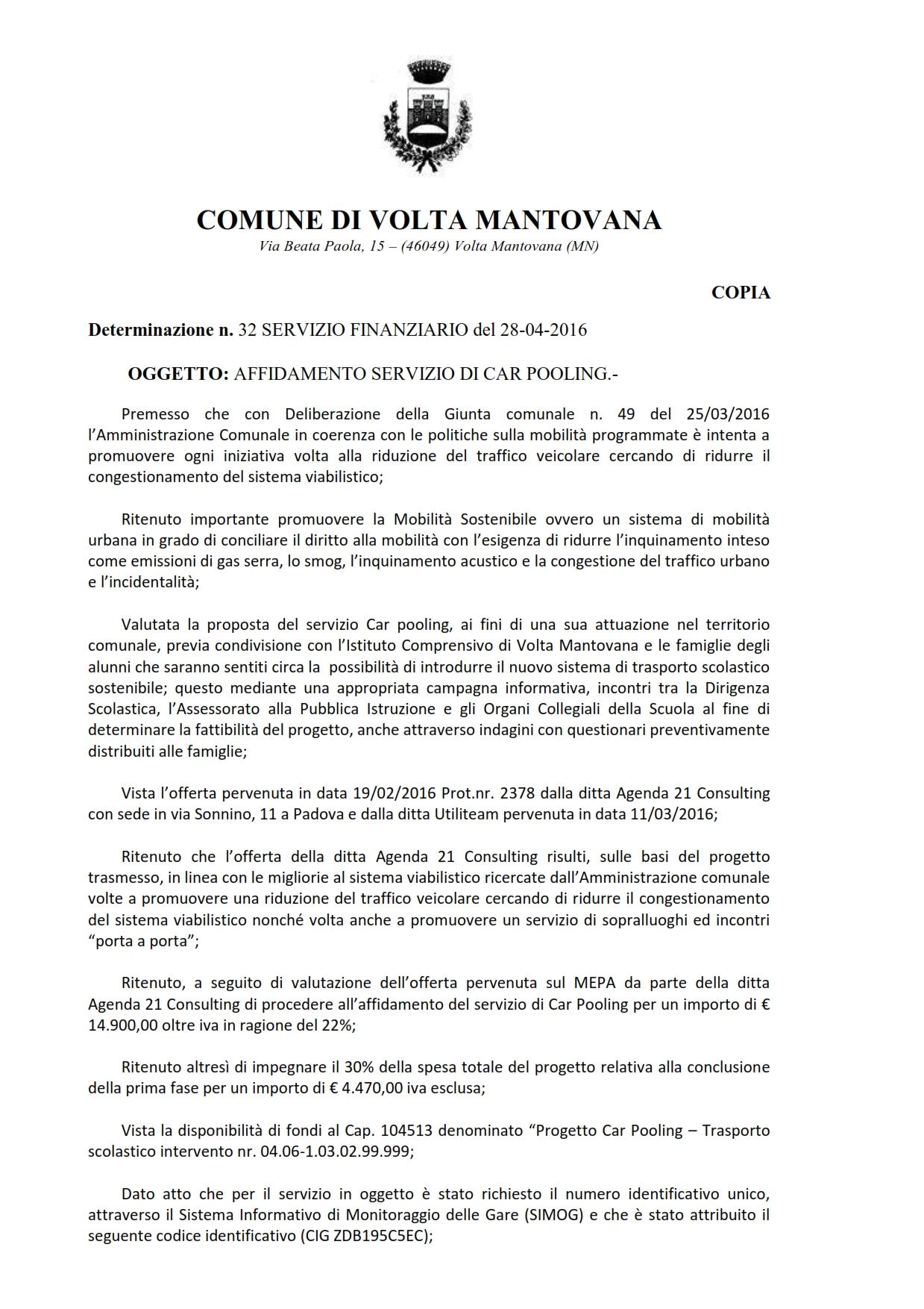 Determina n.32 Servizio Finanziario AFFIDAMENTO SERVIZIO DI CAR POOLING_opt_001
