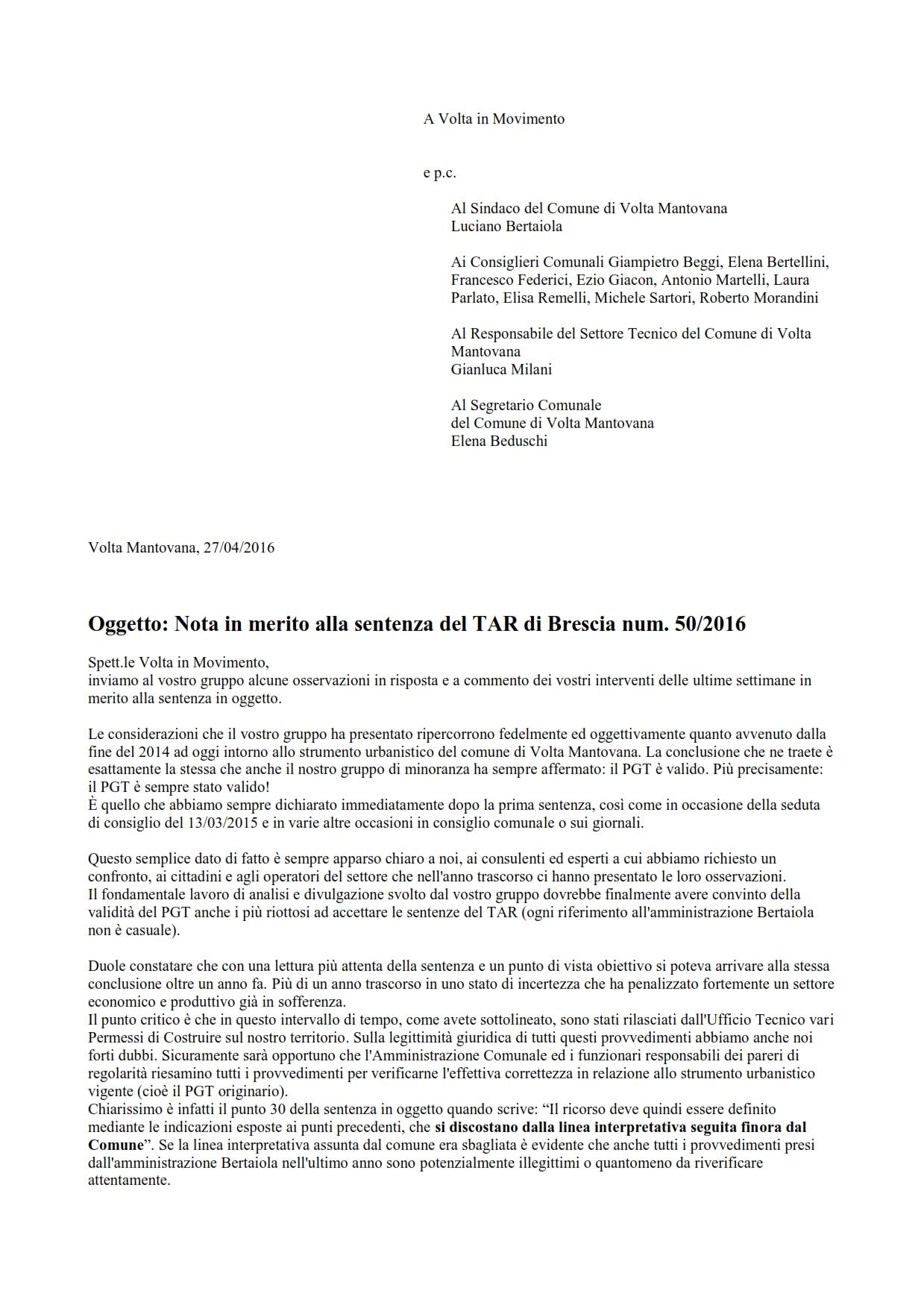 risposta a Volta in Movimento nota sentenza TAR 50-2016_opt_001
